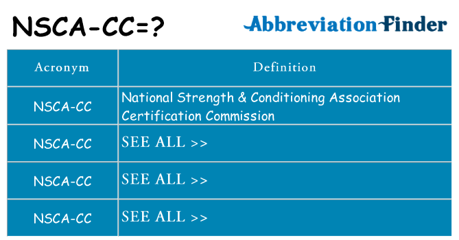 What does nsca-cc stand for
