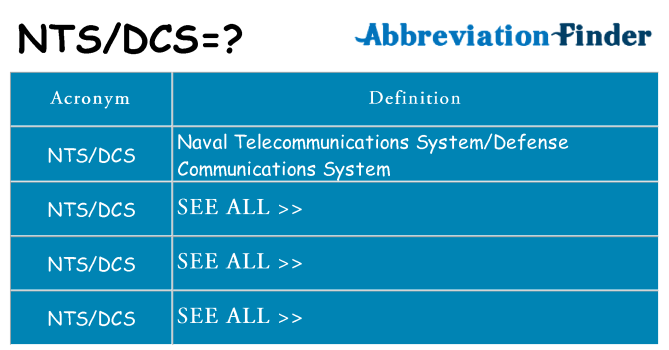 What does ntsdcs stand for