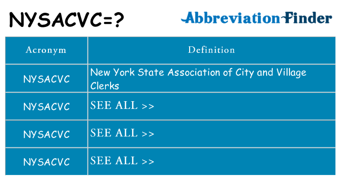What does nysacvc stand for