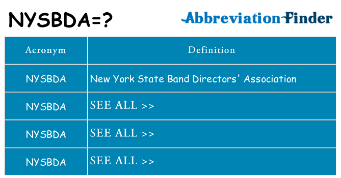 What does nysbda stand for