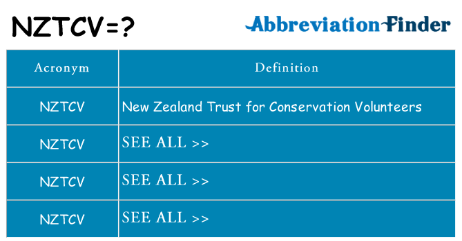 What does nztcv stand for