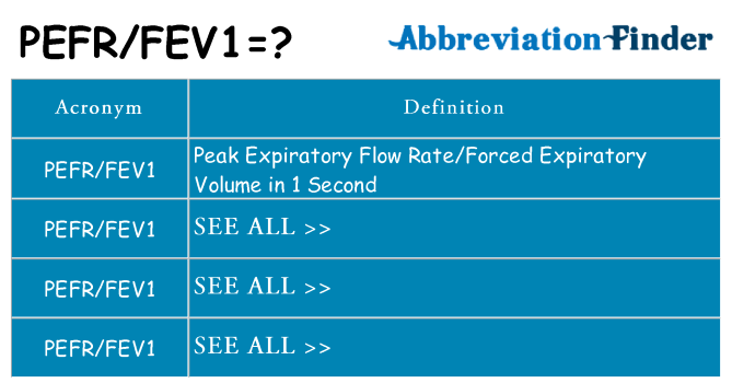 What does pefrfev1 stand for
