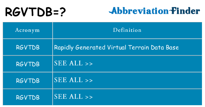 What does rgvtdb stand for