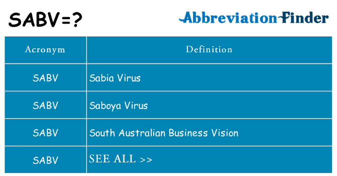 What does sabv stand for