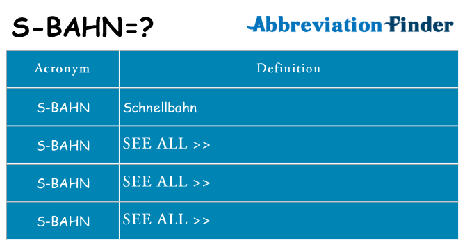 What does s-bahn stand for