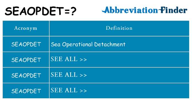 What does seaopdet stand for