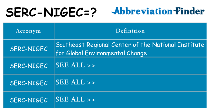 What does serc-nigec stand for