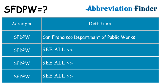 What does sfdpw stand for