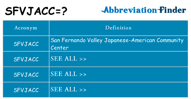 What does sfvjacc stand for