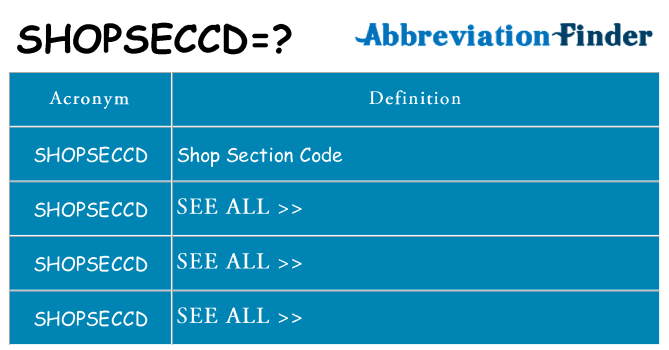 What does shopseccd stand for
