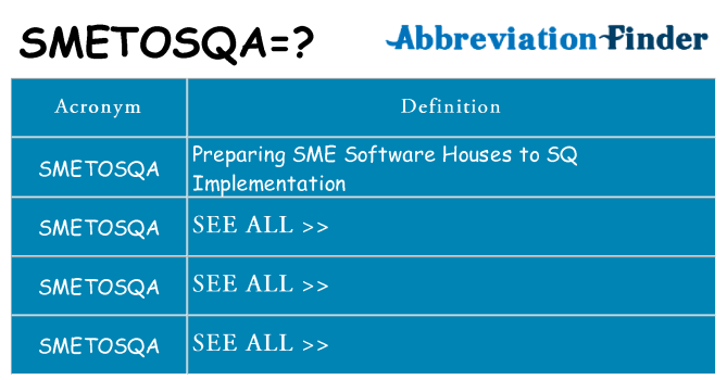 What does smetosqa stand for