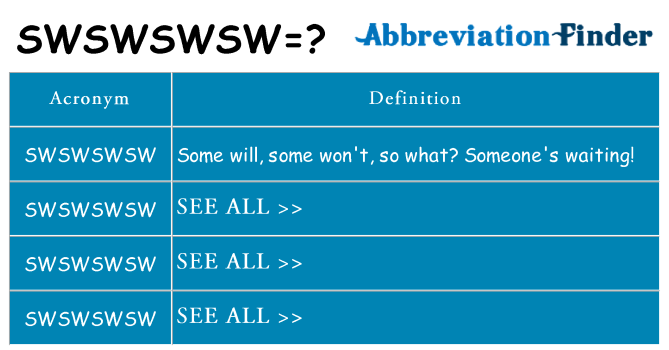 What does swswswsw stand for