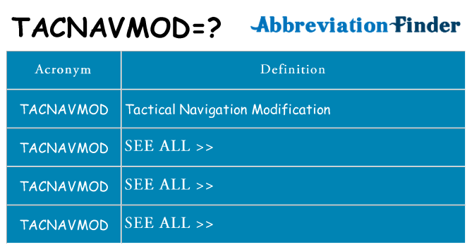 What does tacnavmod stand for