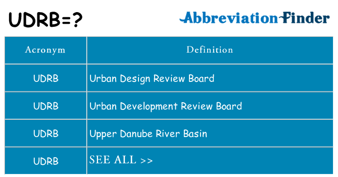 What does udrb stand for