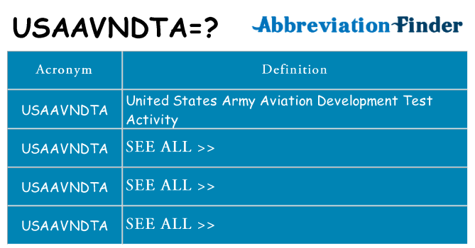 What does usaavndta stand for