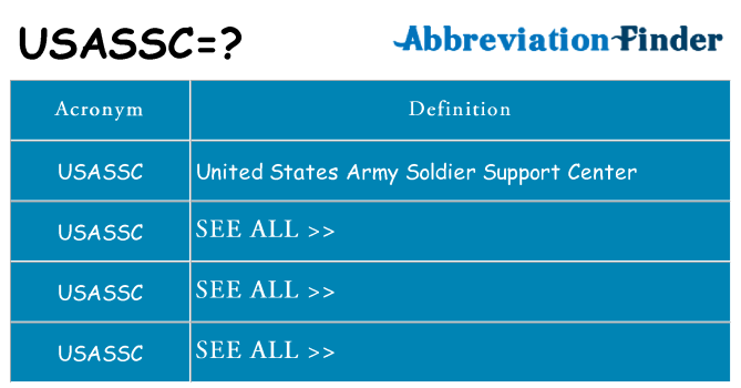 What does usassc stand for