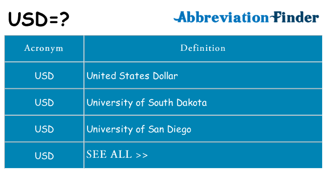 What does usd stand for