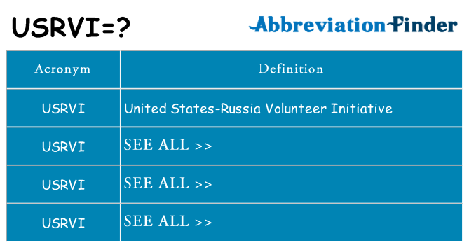 What does usrvi stand for