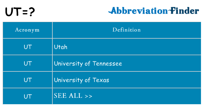 What does ut stand for
