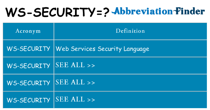 What does ws-security stand for
