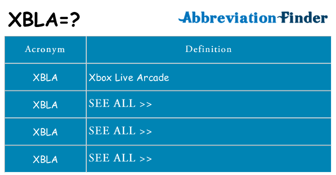 What does xbla stand for
