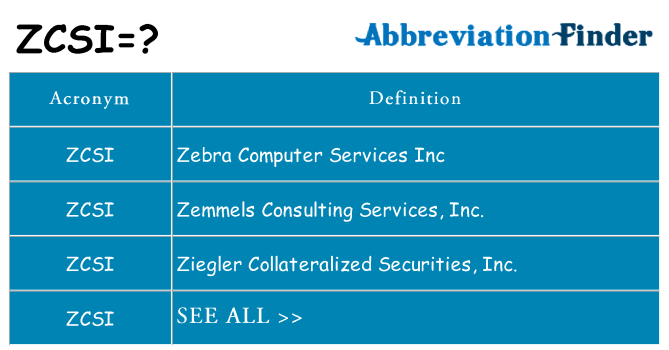 What does zcsi stand for
