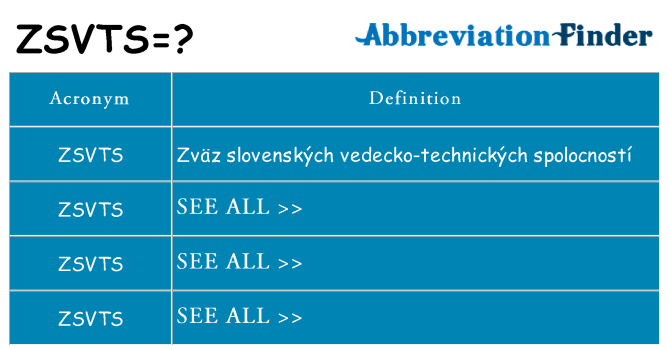 What does zsvts stand for