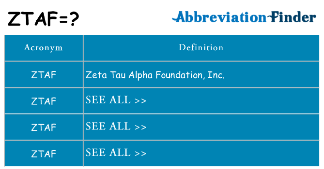 What does ztaf stand for