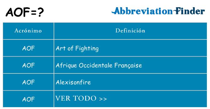 ¿Qué quiere decir aof