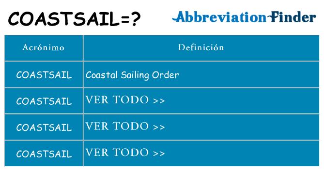 ¿Qué quiere decir coastsail