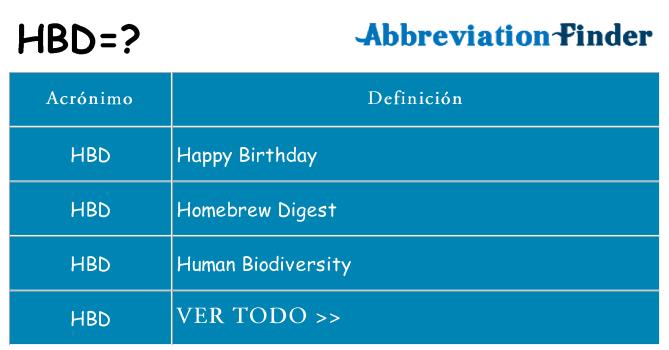 Qué Significa Hbd Hbd Definiciones Abreviatura Finder