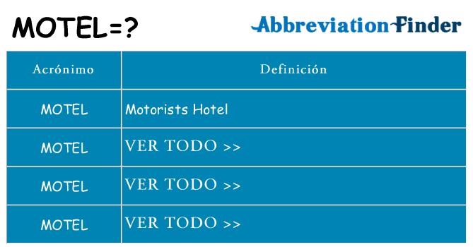 ¿Qué quiere decir motel