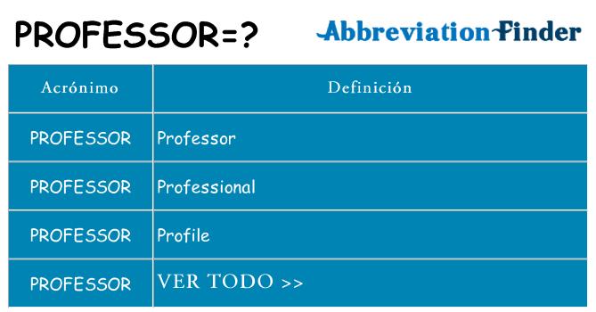 ¿Qué quiere decir professor