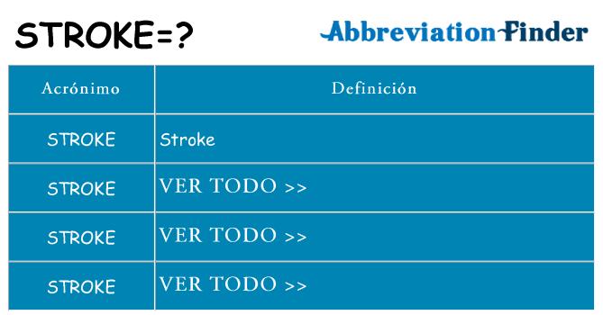 ¿Qué quiere decir stroke