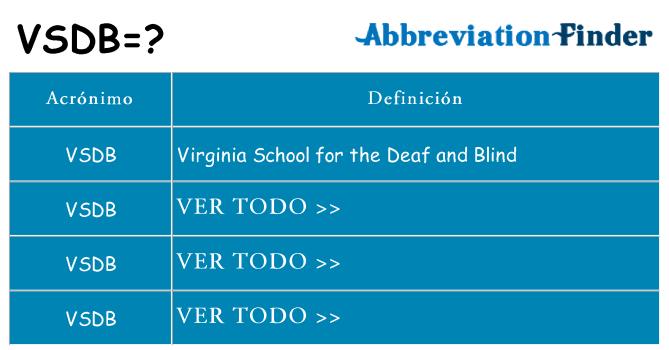 ¿Qué quiere decir vsdb