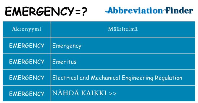 Mitä emergency tarkoittaa