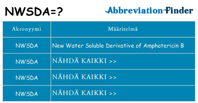 Mitä nwsda tarkoittaa