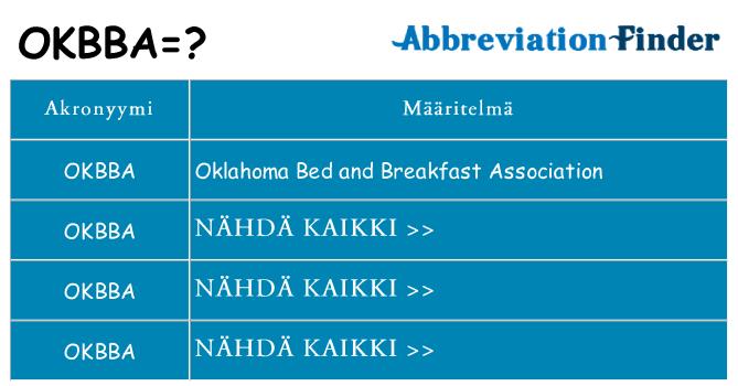 Mitä okbba tarkoittaa