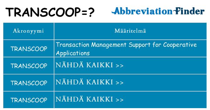 Mitä transcoop tarkoittaa