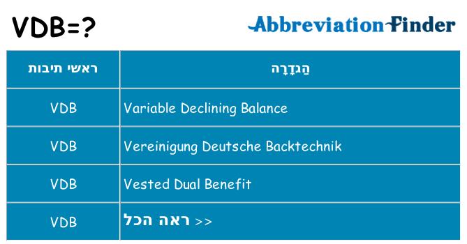 מה הפירוש vdb
