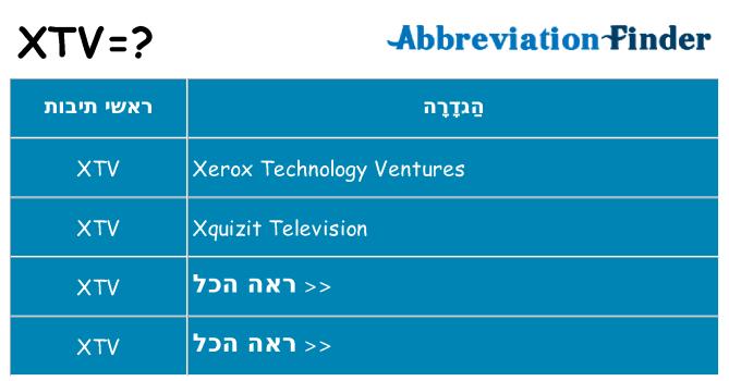 מה הפירוש xtv