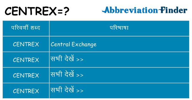 centrex का क्या अर्थ है
