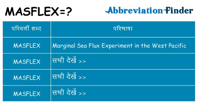 masflex का क्या अर्थ है