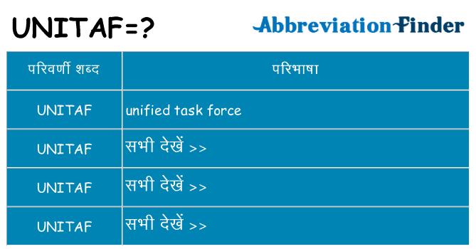 unitaf का क्या अर्थ है