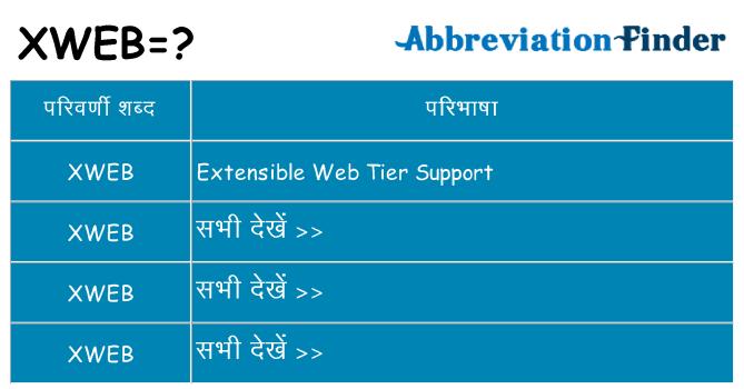 xweb का क्या अर्थ है