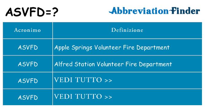 Che cosa significa l'acronimo asvfd