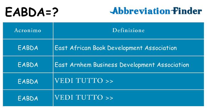 Che cosa significa l'acronimo eabda