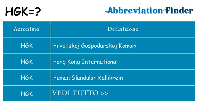 Che cosa significa l'acronimo hgk