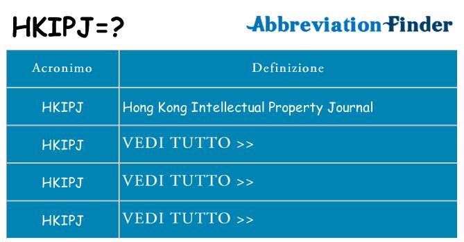 Che cosa significa l'acronimo hkipj