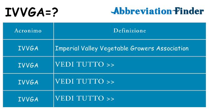 Che cosa significa l'acronimo ivvga